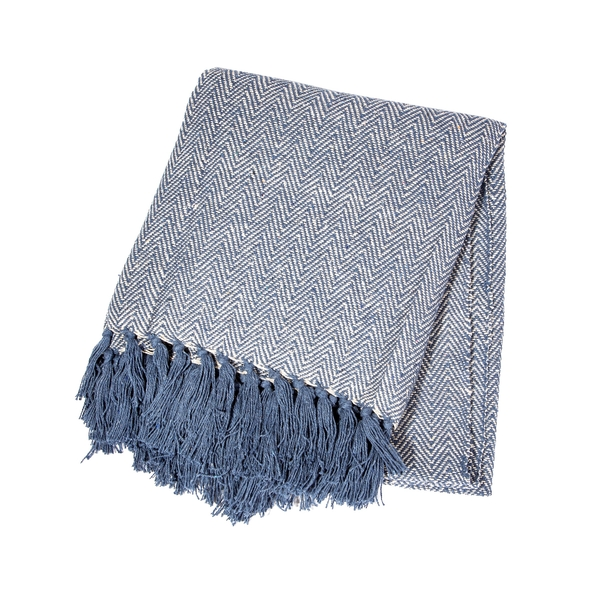 Sass & Belle Blue Herringbone Blanket Throw