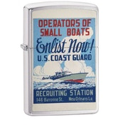 Zippo U.S. Coast Guard Enlist Now Brushed Chrome Finish Windporoof Lighter