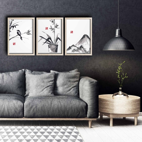 3PKCT-002 Multicolor Decorative Framed MDF Painting (3 Pieces)