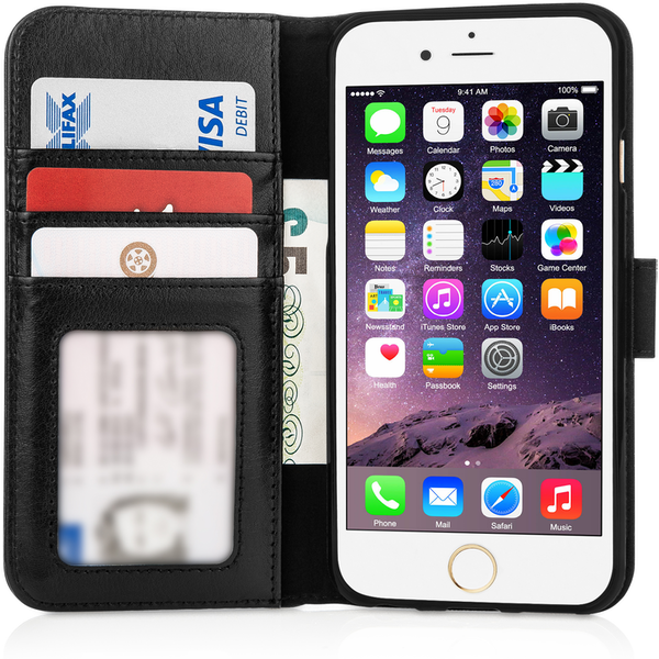 Caseflex iPhone 6 / 6s Real Leather ID Wallet Case - Black