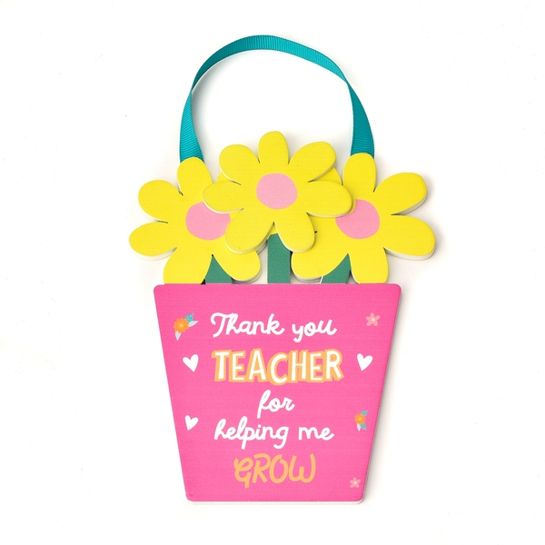 Cheerfull Flower Pot Teacher Plaque