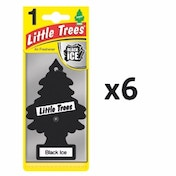 (6 Pack) Magic Tree Black Ice Scent Car/Home Air Freshener