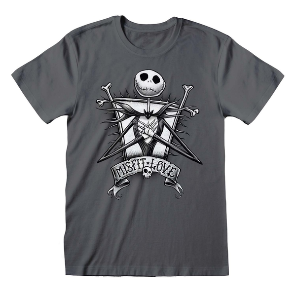 Nightmare Before Christmas - Misfit Unisex Large T-Shirt - Charcoal
