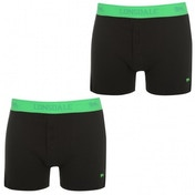 Lonsdale 2 Pack Mens Boxers Black & Green Medium