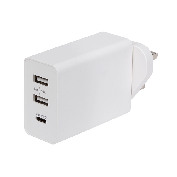 Nikkai Triple Port Wall Charger with 2 x USB-A and 1 x USB-C PD 30W Power Delivery UK Plug