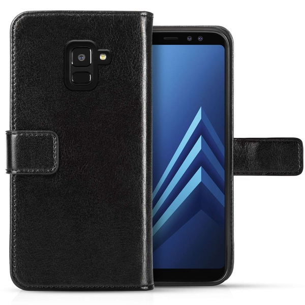 Caseflex Samsung Galaxy A8 (2018) Real Leather ID Wallet - Black - Image 1