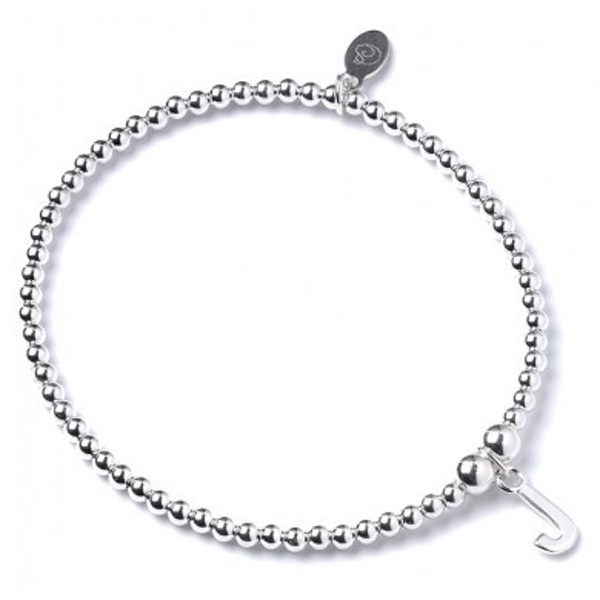 Initial J Charm with Sterling Silver Ball Bead Bracelet
