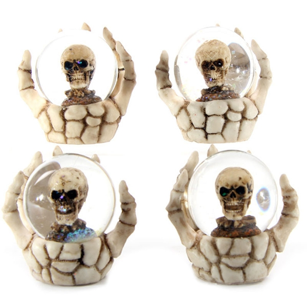 Skeleton Hand and Skull Snow (Pack Of 4) Globe
