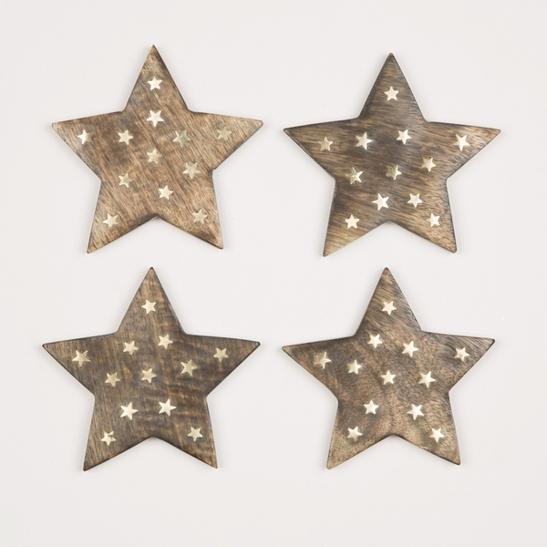 Sass & Belle Wooden Star Coasters with Brass Inlay - Set of 4