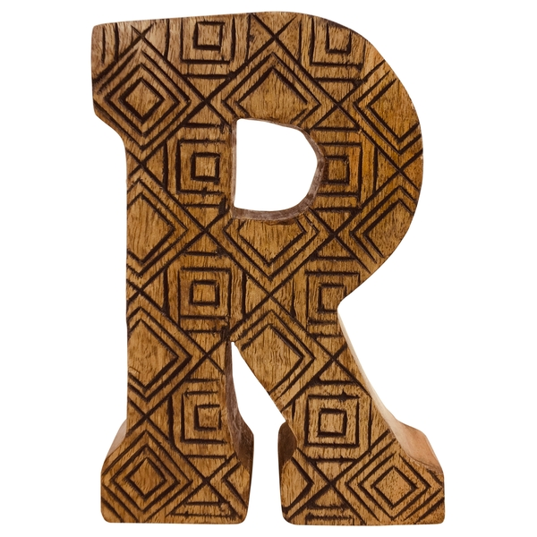 Letter R Hand Carved Wooden Geometric