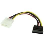 StarTech 4-pin Molex (M) to Right-Angled SATA Power (F) 0.15m Retail Packaged Internal Cable