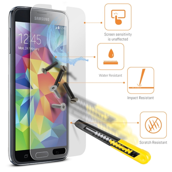 Samsung Galaxy S5 Leather Phone Case + Tempered Glass Screen Protector Flip Gadgitech - Image 9