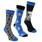 Star Wars Star Wars 3 Pack Crew Socks Mens 7-11 (Blue/Black) Used - Like New