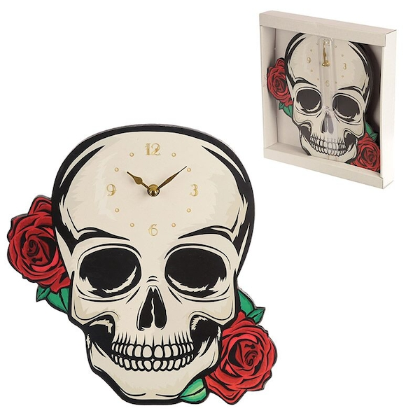 Skull with Red Roses Shaped Wall Clock