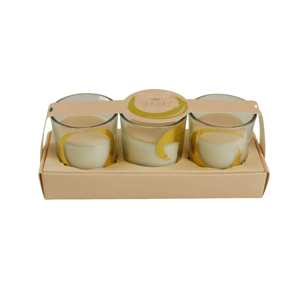 Candlelight Spa Day Relax (Set of 3) Glass Wax Filled Pots Lavender & Vanilla Scent
