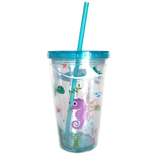 Cute Sea Creatures Double Walled Cup with Lid and Straw