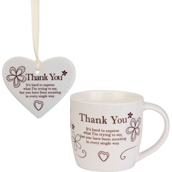 Said with Sentiment Ceramic Mug & Heart Gift Sets Thank You
