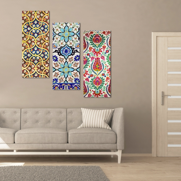 BME004 Multicolor Decorative Framed MDF Painting (3 Pieces)