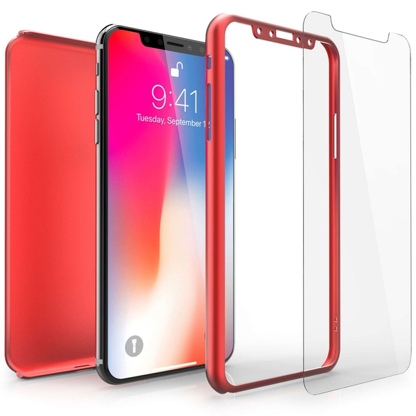 Compare prices with Phone Retailers Comaprison to buy a Apple iPhone X Shockproof Hybrid 360 With Glass Screen Protector - Red