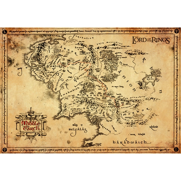Lord Of The Rings Parchment Map Maxi Poster