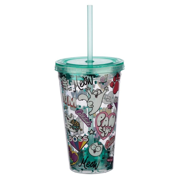 Simon's Cat Plastic Double Walled Glitter Cup with Lid