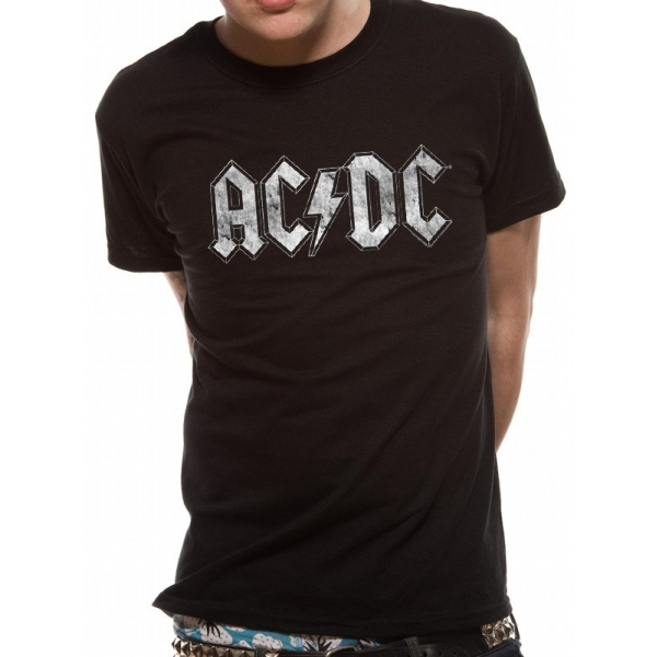 AC/DC White Logo Distressed Unisex Small T-Shirt - Black