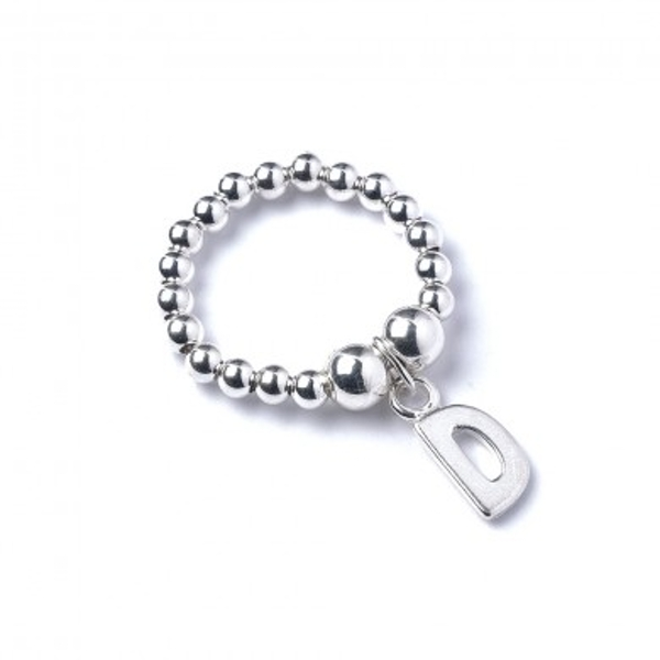 Initial D Charm with Sterling Silver Ball Bead Ring