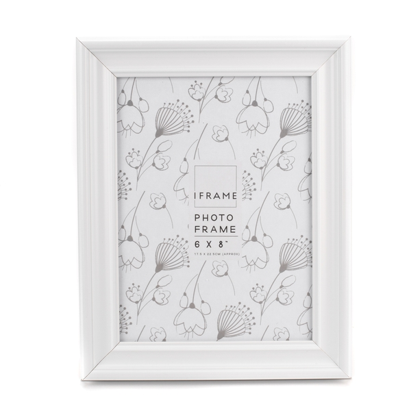 """iFrame White Thick Wood Photo Frame 6"""" x 8"""""""