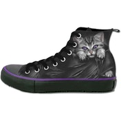 Bright Eyes Women's Size 7 UK (40 EU) High Top Laceup Shoes - Black/ Purple