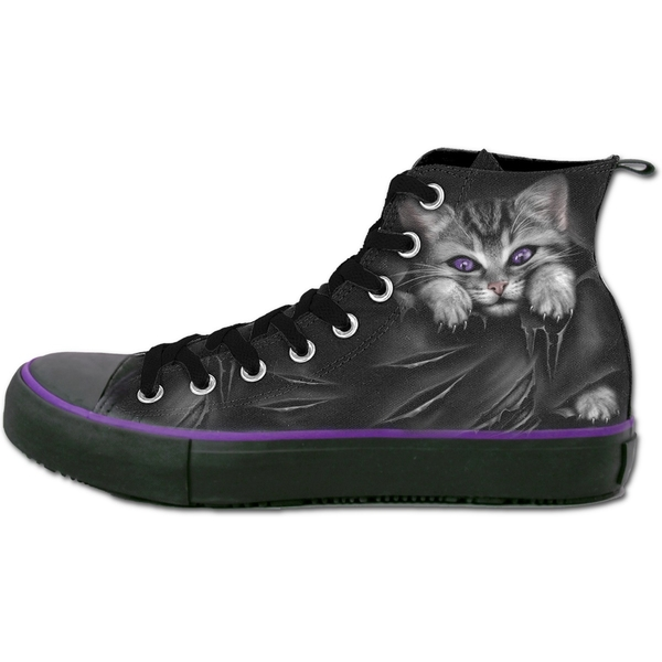 Bright Eyes Women's Size 7 UK (40 EU) High Top Laceup Shoes - Black/ Purple - Image 1