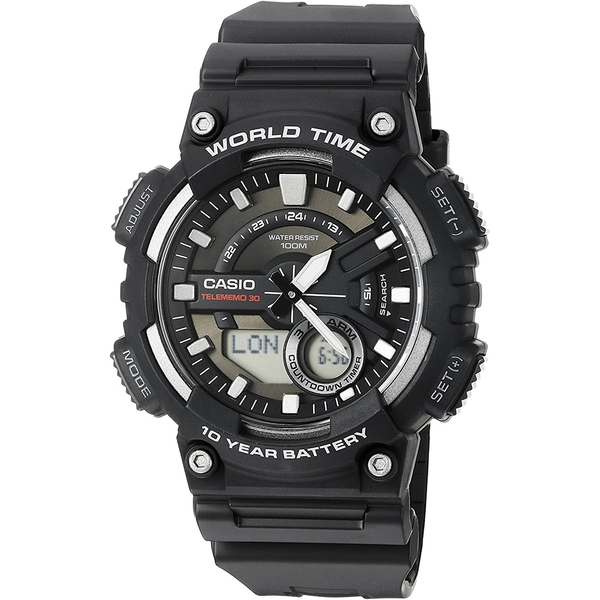 Casio AEQ-110W-1AVEF Mens Watch with World Time - Black Resin Strap