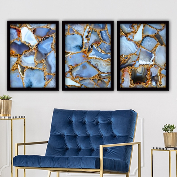 3SC96 Multicolor Decorative Framed Painting (3 Pieces)