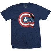 Marvel Comics - Captain America American Shield Men's Large T-Shirt - Blue
