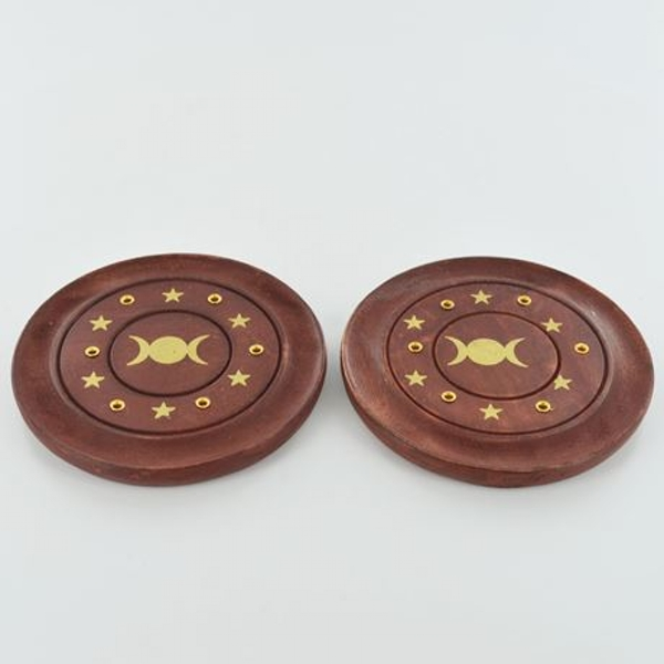 Triple Moons Brass Inlay Incense Plate 10cm | Set of 2