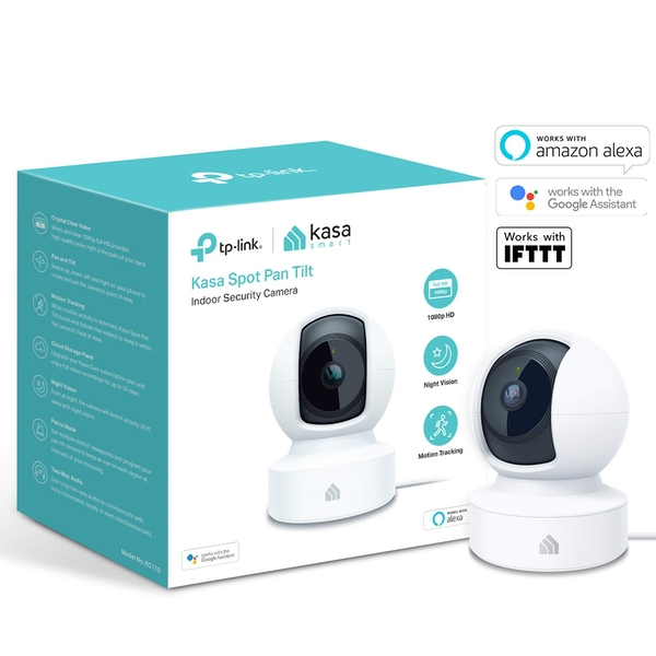 TP-Link (KC110) Kasa Spot Pan Tilt Indoor Wireless Surveillance Camera, 1080p, Night Vision, 2-way Audio, Free Cloud Storage - Image 1