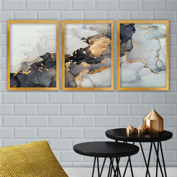 3AC169 Multicolor Decorative Framed Painting (3 Pieces)