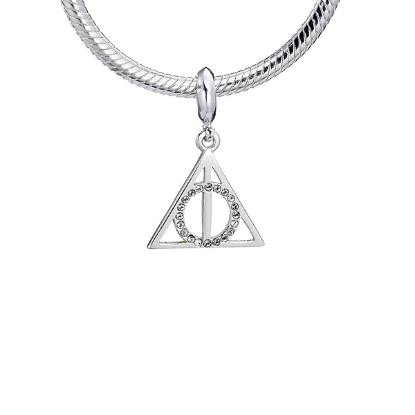Sterling Silver Deathly Hallows Slider Charm with Swarovski Crystal Elements
