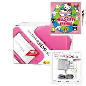 Pink Nintendo 3DS XL Console Bundle with Hello Kitty & Friends and Power Adapter UK Plug