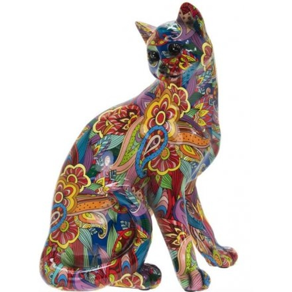 Colourful Floral French Cat Sitting 29cm