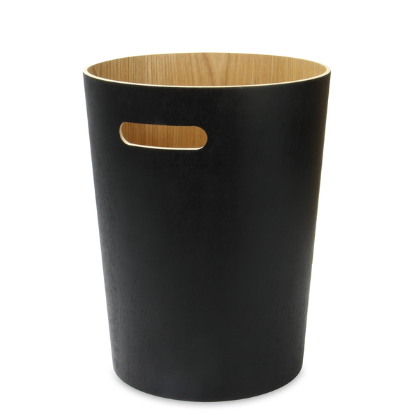 Wooden Waste Paper Bin | M&W Black