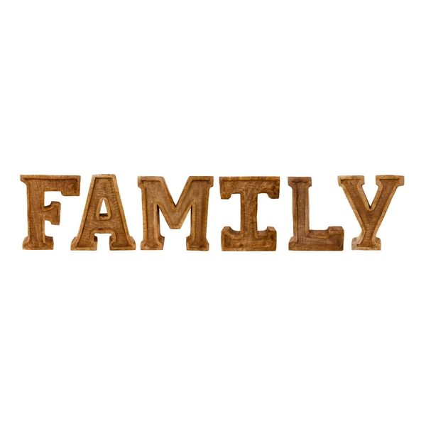 Hand Carved Wooden Embossed Letters Family