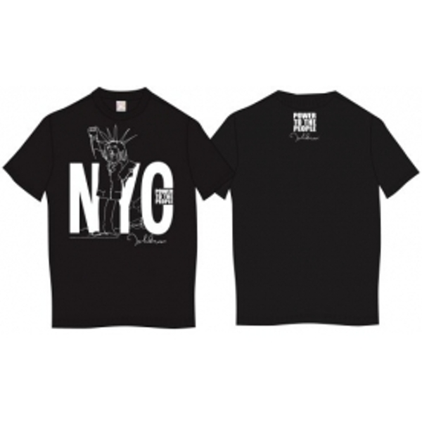 John Lennon Tee Shirt: NYC Power to the People Blk: X Large