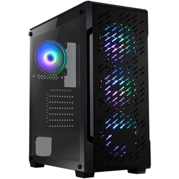 Spire Crossfire Gaming Case w/ Glass Window, ATX, 4 ARGB Fans (3 Front, 1 Back), LED Button, High Airflow Front, Mesh Top