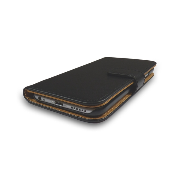 iPhone 5/5s/SE Black Leather Phone Case + Free Screen Protector Flip Wallet Gadgitech - Image 2