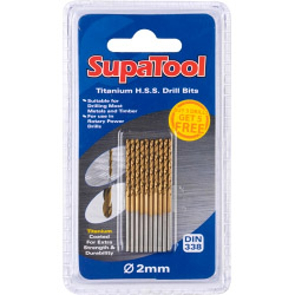SupaTool Titanium Coated HSS Drill Bits 2x49mm 10 Piece