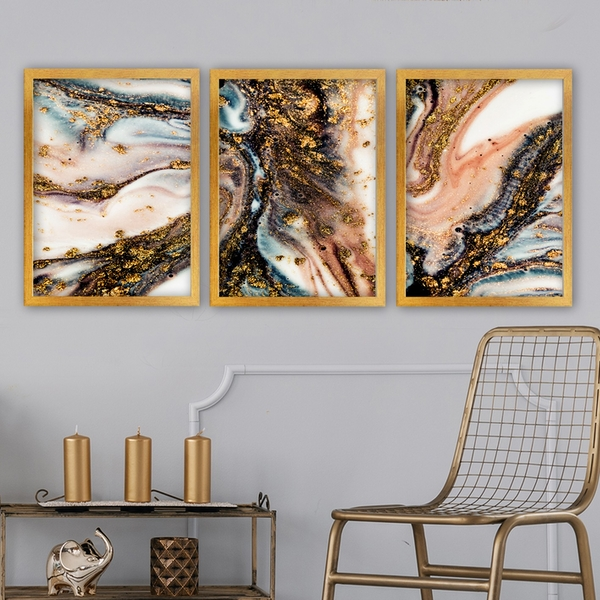 3AC167 Multicolor Decorative Framed Painting (3 Pieces)