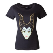 Disney - Maleficent Face Women's X-Large T-Shirt - Black