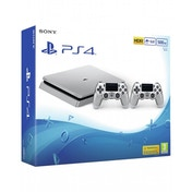 PlayStation 4 Slim D-chassis (500GB) Silver Console with 2 Controllers