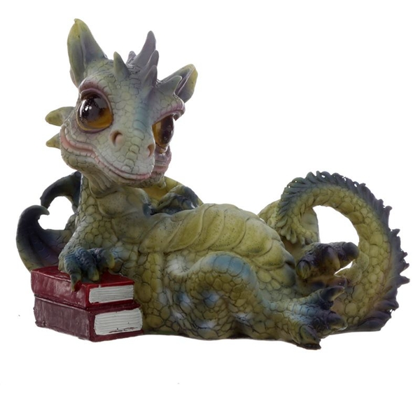 Green Baby Dragon Lying with Books Figurine