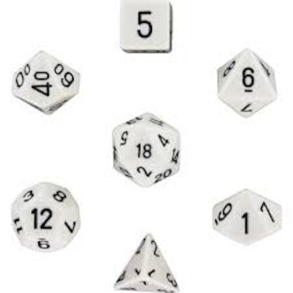 Chessex Opaque Poly 7 Dice Set: White/Black